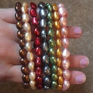 Colored Cultured pearl bracelets